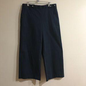 Zara basic wide leg hi-waist dark blue pants Large
